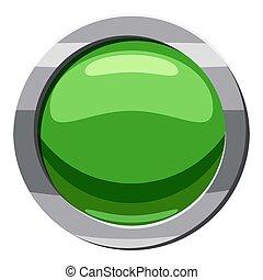 Round green button icon, cartoon style