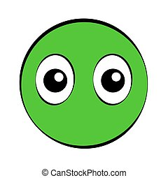 Round Green Comic Face With Big Eyes - Round green comic...