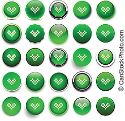 Round green download icons.