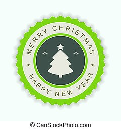 Round green emblem with a silhouette of a Christmas tree.