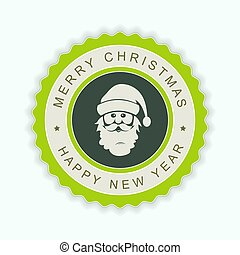 Round green emblem with a silhouette of Santa Claus face.