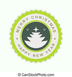Round green emblem with silhouette of abstract Christmas tree.