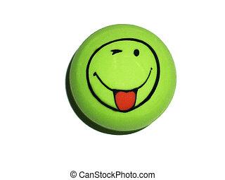 Round green eraser on a white background