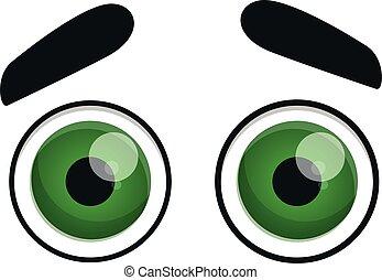 Round green eyes icon, cartoon style