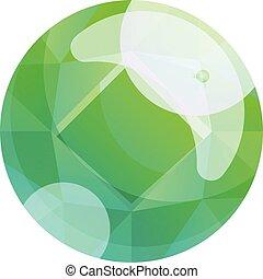 Round green gem icon, cartoon style