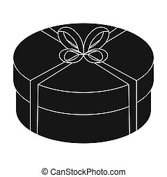 Round green gift with a red ribbon. A box for a cake. Gifts and Certificates single icon in black style bitmap symbol stock illustration.