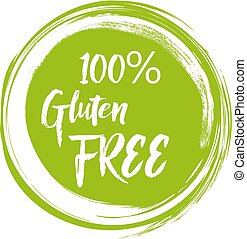 Round green label with text - Gluten free. Vector illustration