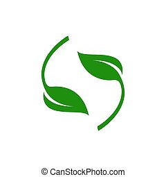 Round green leaf vector illustration on a white background