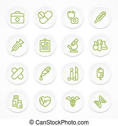 Round green medical icons
