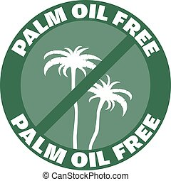 round green palm oil free label or badge