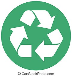 Round green recycling symbol