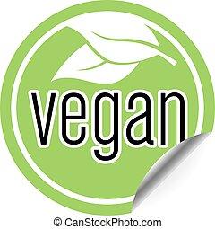 round green vegan sticker or badge, vegan food label