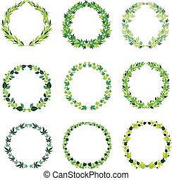 round green vintage frames with lea - Vector set of round...