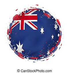 Round grunge flag of Australia with splashes in flag color.