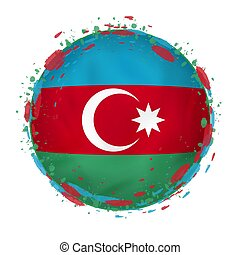 Round grunge flag of Azerbaijan with splashes in flag color.