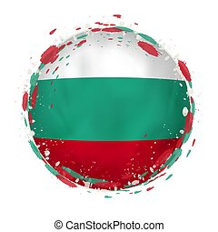 Round grunge flag of Bulgaria with splashes in flag color.