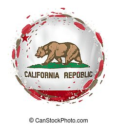 Round grunge flag of California US state with splashes in flag color.