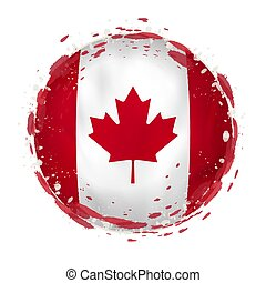 Round grunge flag of Canada with splashes in flag color.
