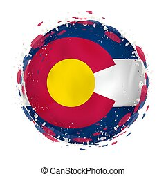 Round grunge flag of Colorado US state with splashes in flag color.