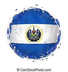 Round Grunge Flag Of El Salvador With Splashes In Color