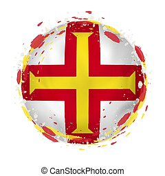 Round grunge flag of Guernsey with splashes in flag color. Vector illustration.