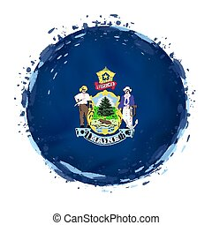 Round grunge flag of Maine US state with splashes in flag color.