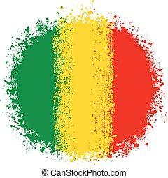 Round Grunge Flag of Mali