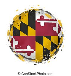 Round grunge flag of Maryland US state with splashes in flag color.