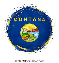 Round grunge flag of Montana US state with splashes in flag color.