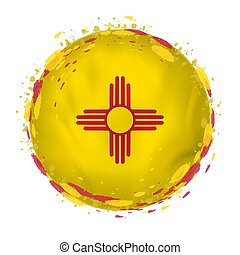 Round grunge flag of New Mexico US state with splashes in flag color. Vector illustration.