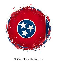 Round grunge flag of Tennessee US state with splashes in flag color. Vector illustration.