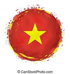Round grunge flag of Vietnam with splashes in flag color.