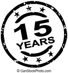 grunge stamp for 15 years jubilee - round grunge stamp for...