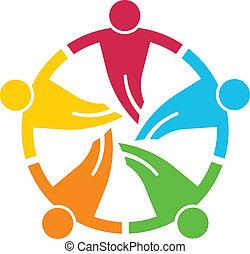round., grupo, pessoas, 5, v, trabalho equipe