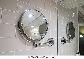 round hanging mirror in toilet wall for women make up