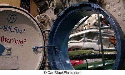 round hatchway submarine - round hatchway opened, submarine...