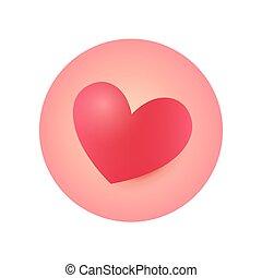 Round Heart Icon, Sticker for Valentines Day