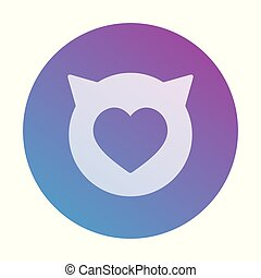 Round heart icon with cat ears