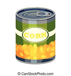 Round high tin can with corn. Vector illustration on white background.