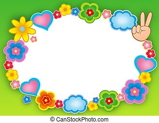Round hippie frame with flowers