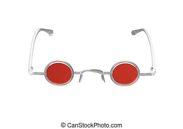 Round hippy glasses with red lens isolated on white
