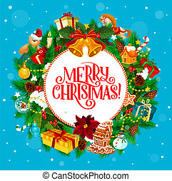 Round holiday greeting with Merry Christmas wishes