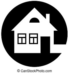Round home icon with chimney and window on a black background