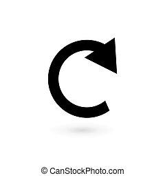 Round icon arrow black on white background.