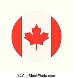 Round icon, button or badge with National Canada flag isolated on white background