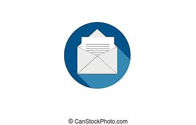 Round icon correspondence in blue.