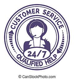 Round icon for non stop customer service on white - Round...