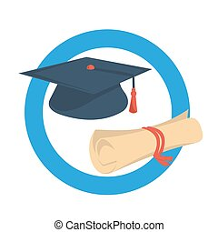 Round icon graduate cap and diploma