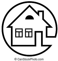 Round icon house with a chimney and windows with black outline