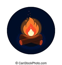 Round icon of bright bonfire with firewood on dark blue background.